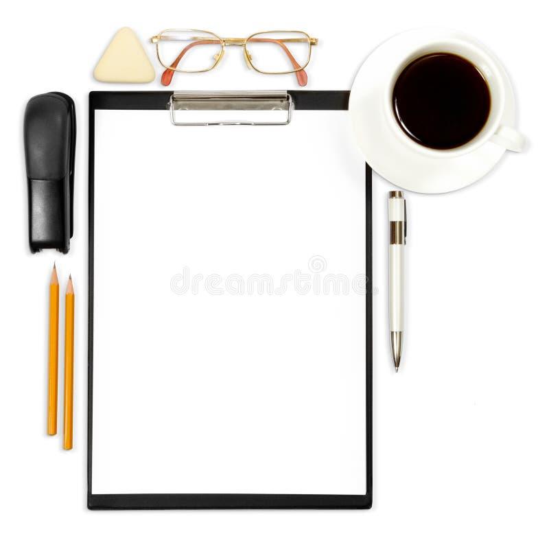Fond abstrait d'affaires avec la fourniture de bureau images libres de droits