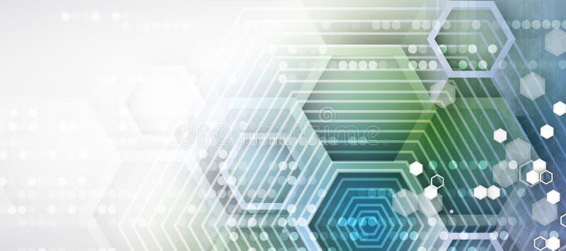 Fond abstrait d'affaires de technologie d'hexagone d'ordinateur de circuit de structure illustration stock