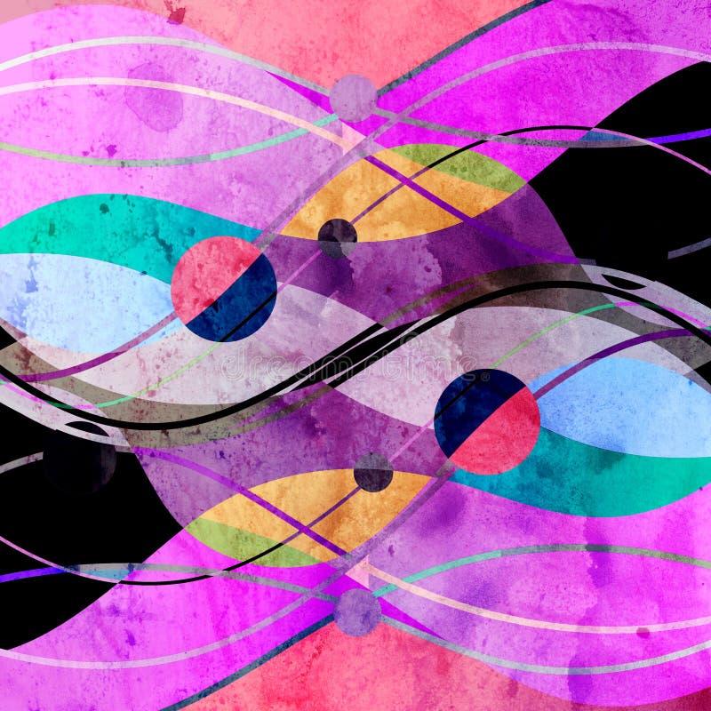 Fond abstrait d'aquarelle avec les objets g?om?triques de couleur illustration de vecteur