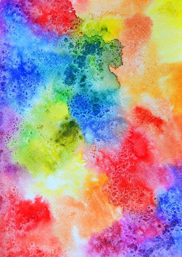 Fond abstrait d'aquarelle d'arc-en-ciel photo libre de droits