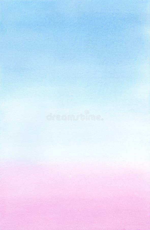Fond abstrait d'aquarelle de gradient aux nuances roses et bleu-clair illustration libre de droits