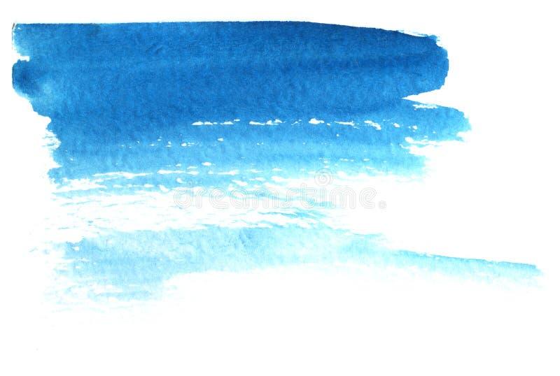 Fond abstrait d'aquarelle Une tache des filets bleus striés de peinture Illustration tir?e par la main d'aquarelle illustration de vecteur