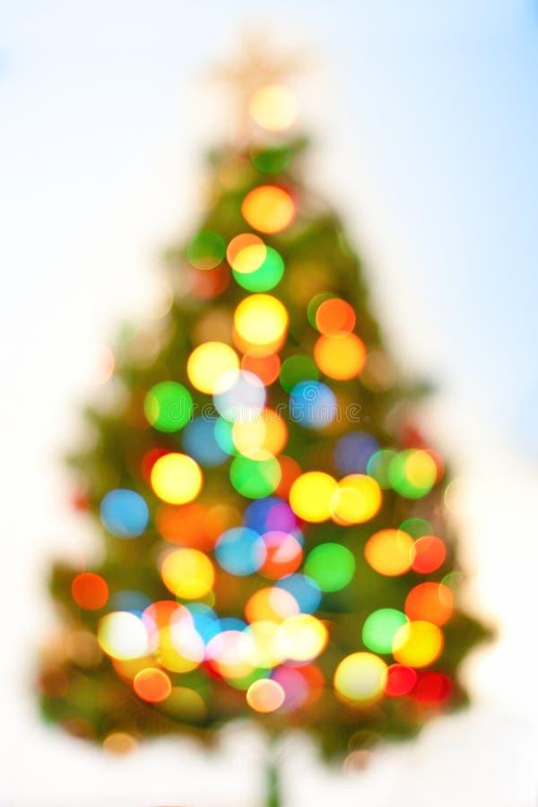 Fond abstrait d'arbre de Noël de bokeh. photographie stock