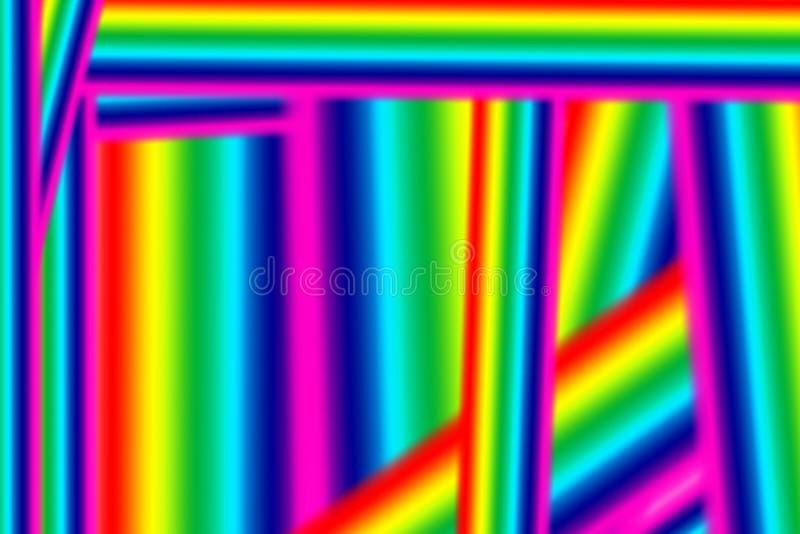Fond abstrait d'arc-en-ciel Rayures colorées chaotiques Lignes droites lumineuses de différentes couleurs Couleurs d'arc-en-ciel illustration de vecteur
