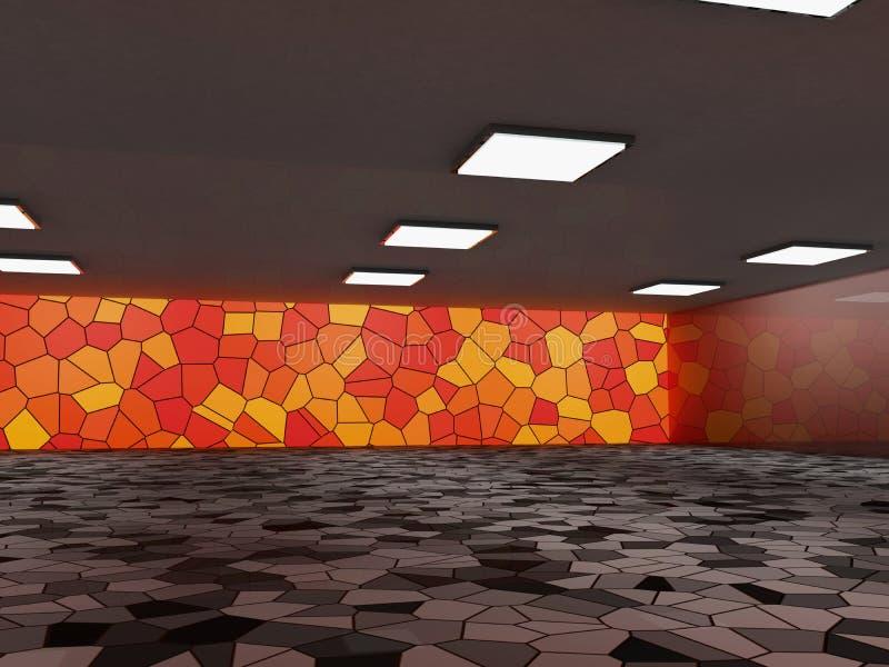 Fond abstrait d'architecture, intérieur vide et murs rendu 3d illustration de vecteur