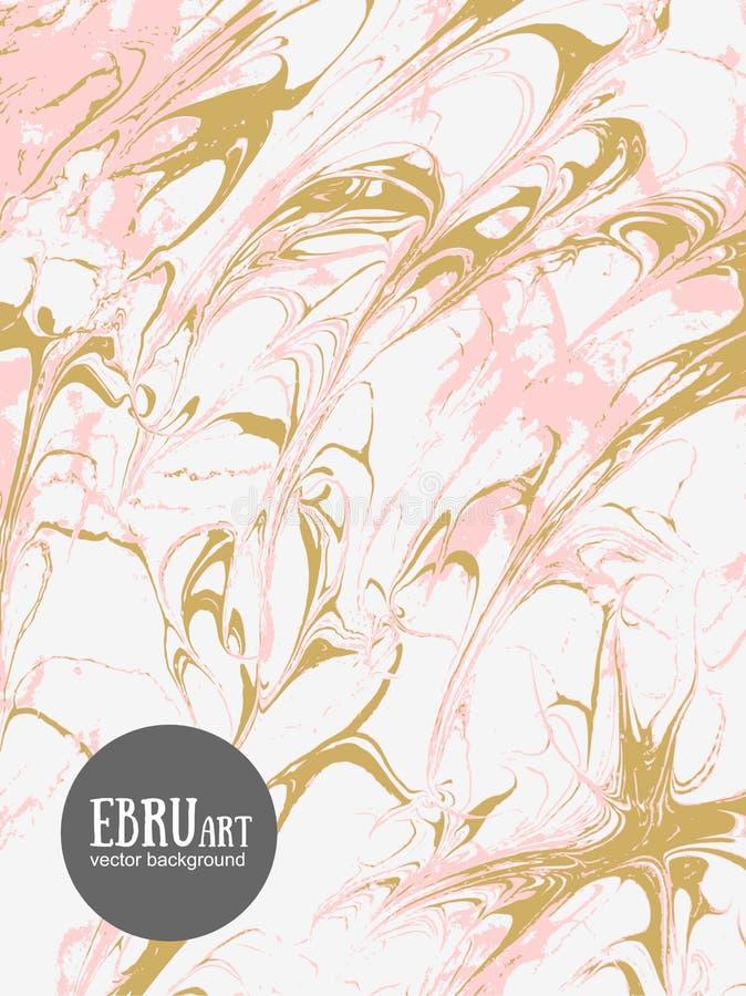 Fond abstrait d'ebru de vecteur L'or et le rose éclabousse illustration de vecteur