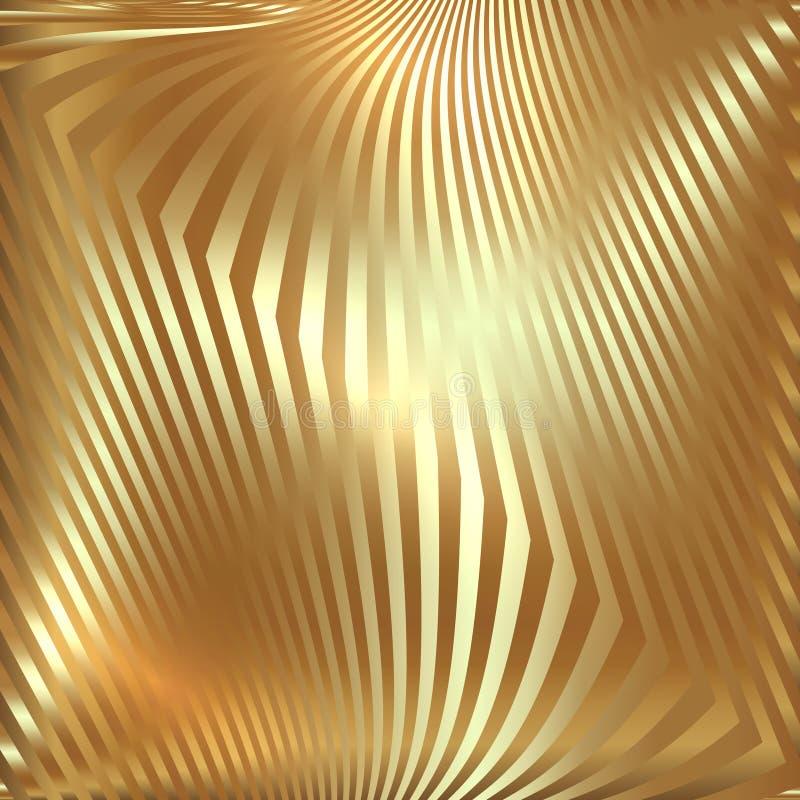 Fond abstrait d'or en métal de vecteur avec le zigzag illustration de vecteur