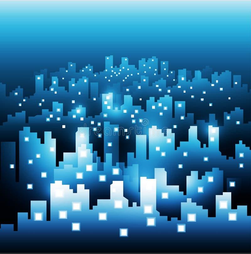 Fond abstrait d'horizon de ville la nuit illustration libre de droits