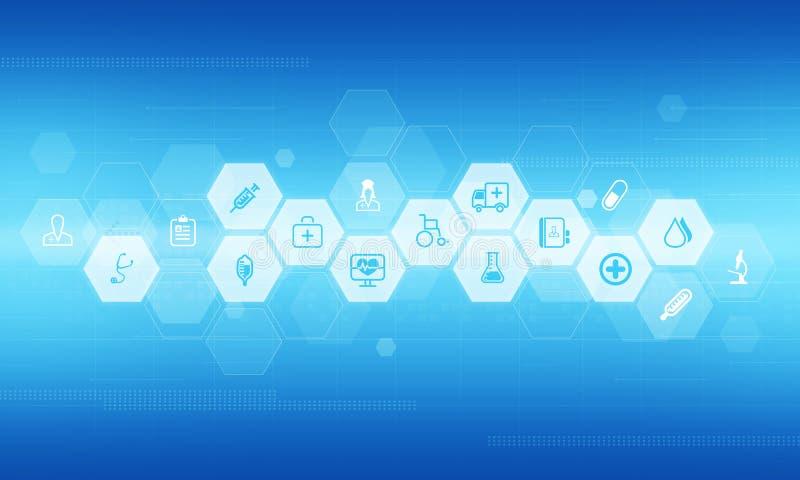 Fond abstrait d'icônes des sciences médicales et de santé illustration de vecteur