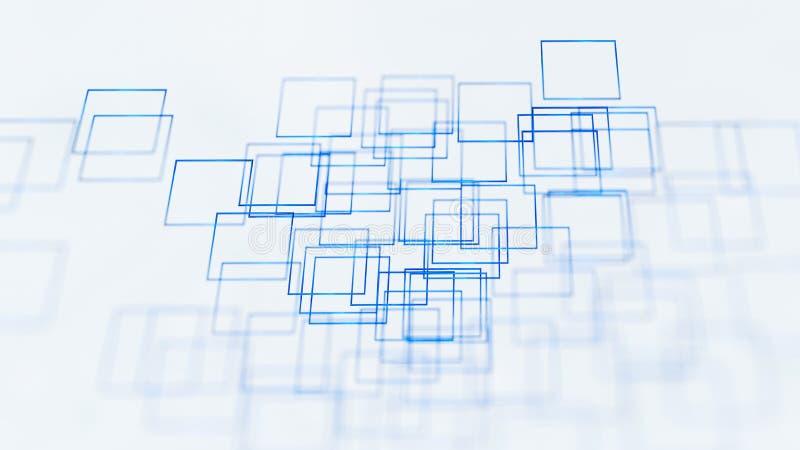 Fond abstrait d'illustration, bleu, places, sur le rendu blanc du fond 3d illustration de vecteur