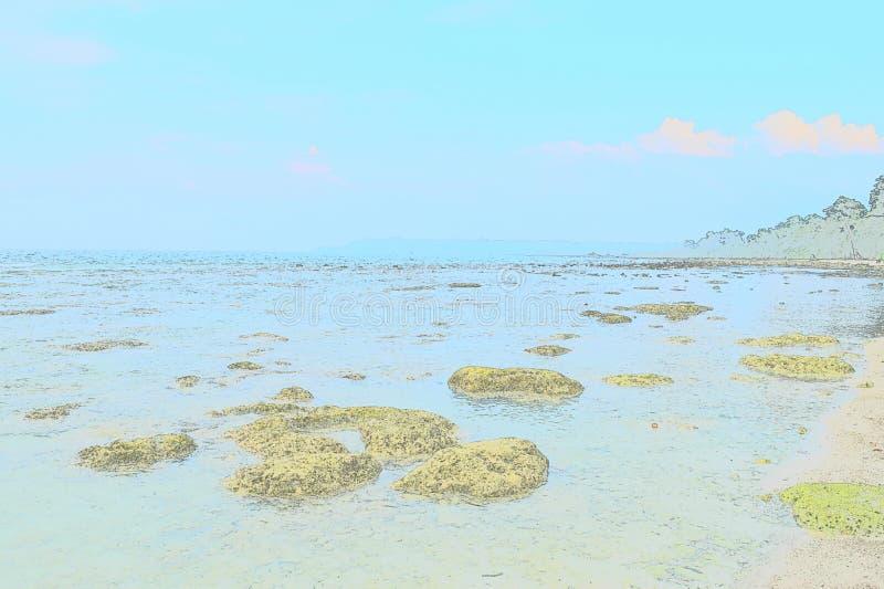 Fond abstrait d'illustration - pierres dans l'eau avec le ciel bleu clair à la plage photos stock