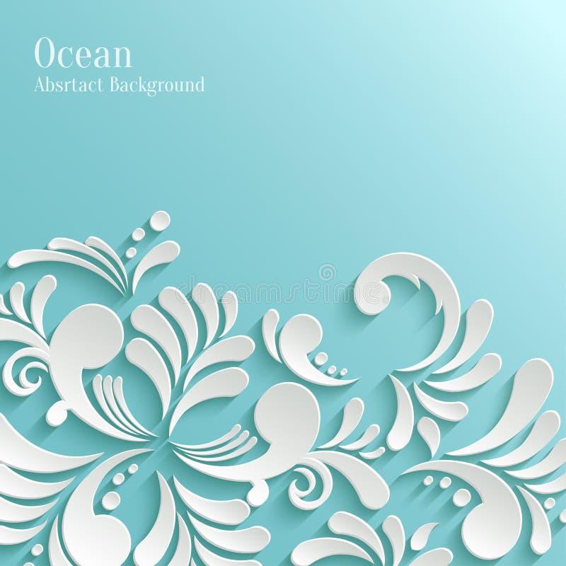 Fond abstrait d'océan avec le modèle 3d floral illustration libre de droits