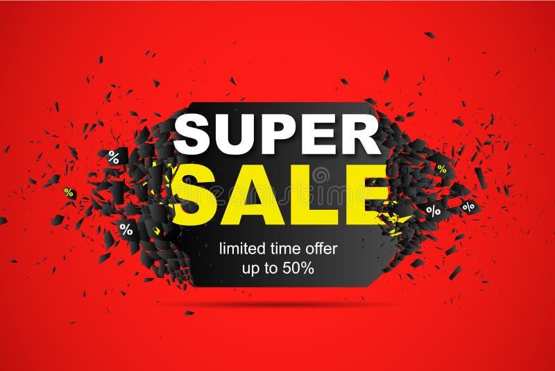 Fond abstrait d'offre de temps limité de vente jusqu'à 50 superbes Calibre de conception de bannière de promo avec l'effet d'expl illustration de vecteur