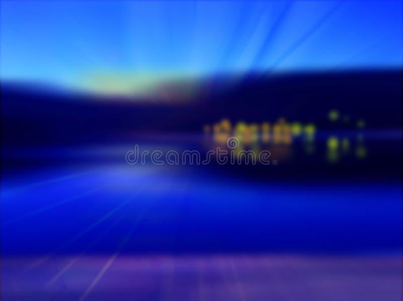 Fond abstrait d'un lever de soleil sur la rivière illustration stock