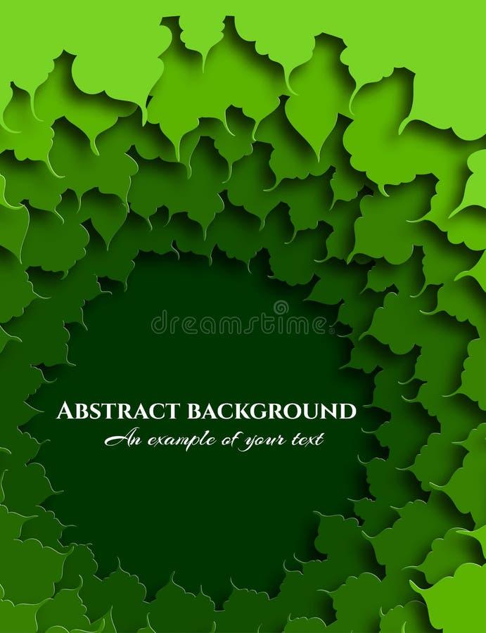 Fond abstrait dans le style coupé de papier Le feuillage vert de l'arbre Art pour créer des conceptions Vecteur illustration libre de droits
