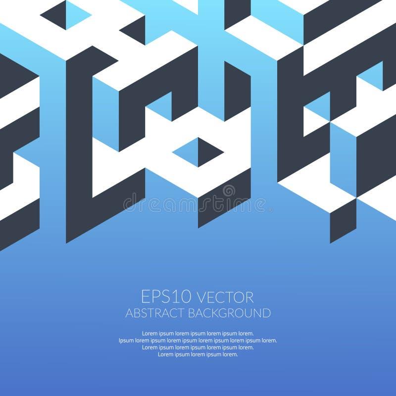 Fond abstrait dans le style isométrique Construction des formes tridimensionnelles illustration de vecteur
