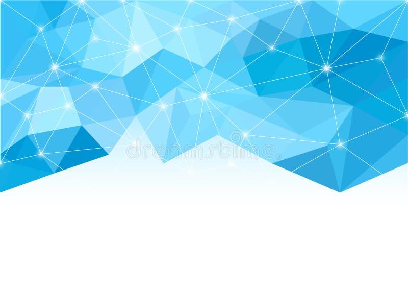 Fond abstrait dans le style polygonal Nuances de bleu Lumière et étincelles L'espace blanc pour le texte illustration libre de droits