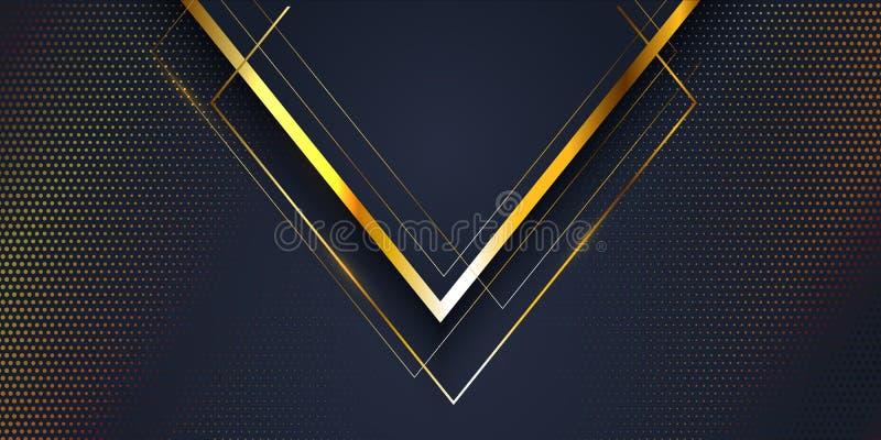 Fond abstrait de bannière avec de l'or et la conception moderne bleue illustration stock