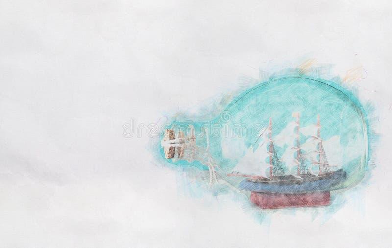 Fond abstrait de bateau dans la bouteille Style coloré de peinture de croquis de crayon images stock