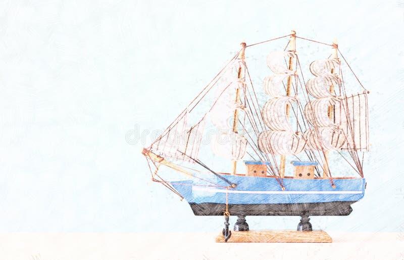 Fond abstrait de bateau Style coloré de peinture de croquis de crayon image libre de droits
