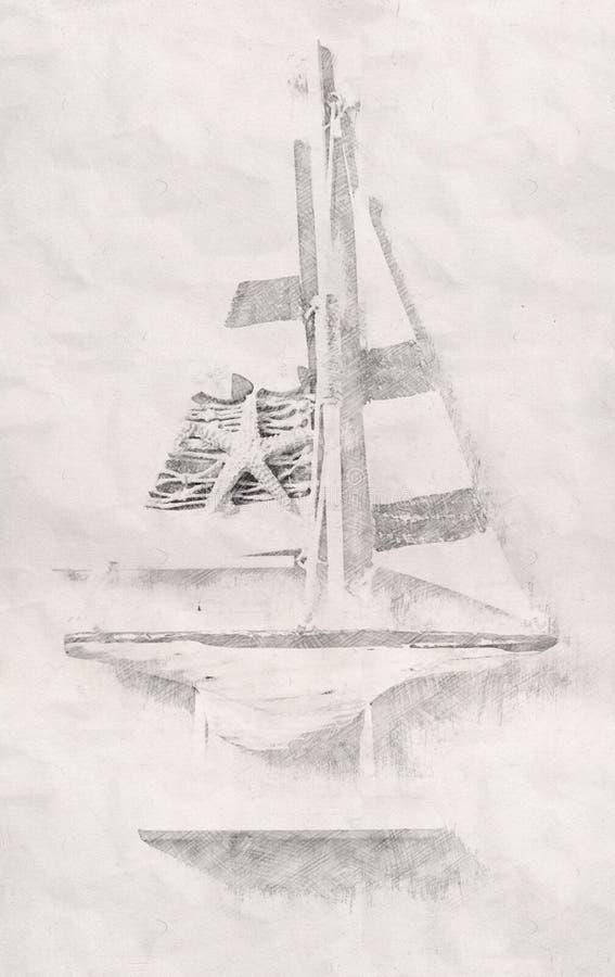 Fond abstrait de bateau Style de peinture de croquis de crayon noir illustration de vecteur