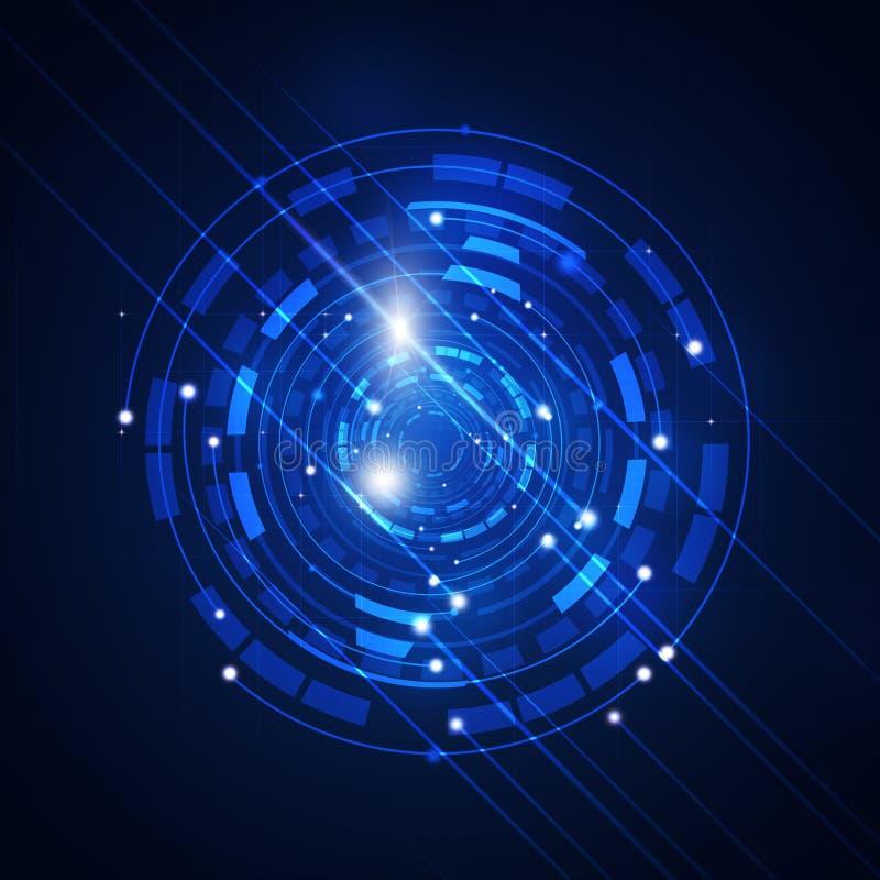 Fond abstrait de bleu de cercle de technologie illustration stock