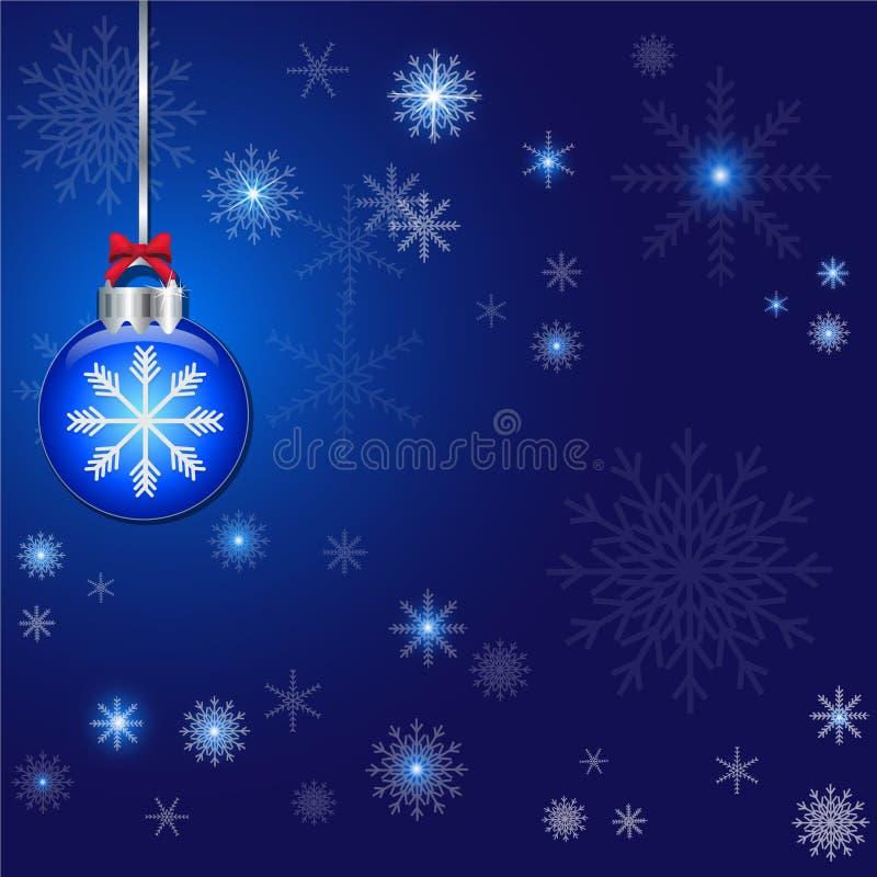 Fond abstrait de bleu de décoration de Noël et de boule illustration de vecteur