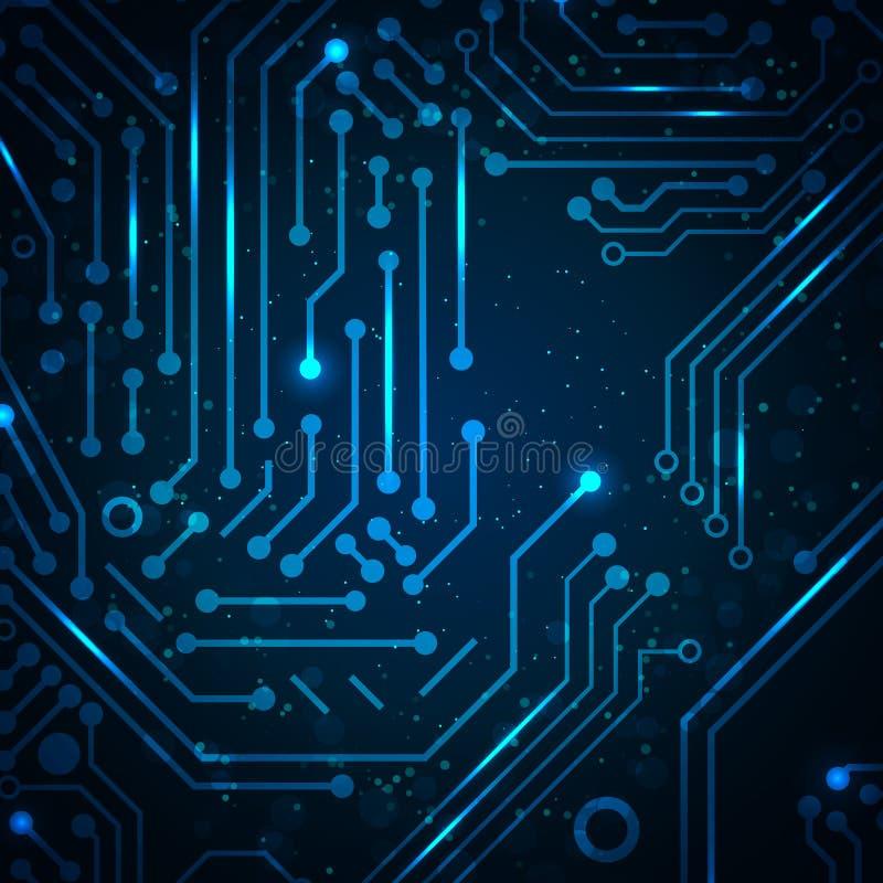 Fond abstrait de bleu de technologie. illustration libre de droits