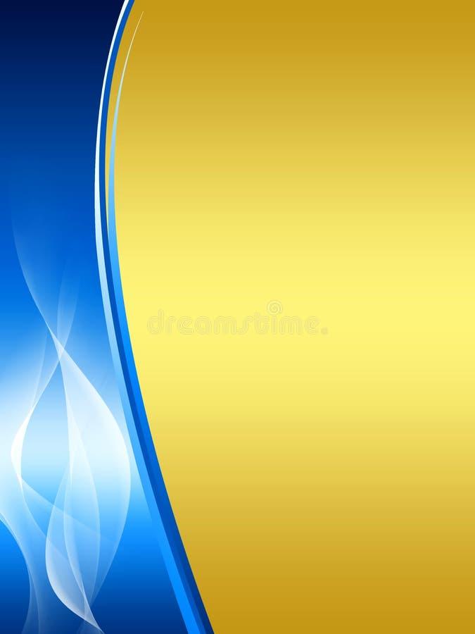 Fond abstrait de bleu et d'or illustration de vecteur