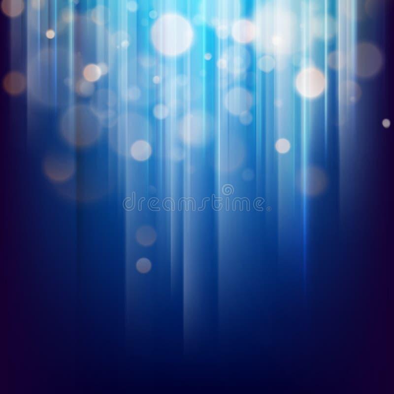 Fond abstrait de bokeh de lumière d'or avec le fond bleu ENV 10 illustration de vecteur