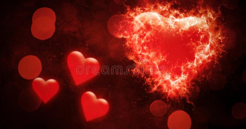 Fond abstrait de bokeh de valentines avec les coeurs colorés de brûlure du feu Carte d'amour Insecte ou impression de noce, carte illustration de vecteur