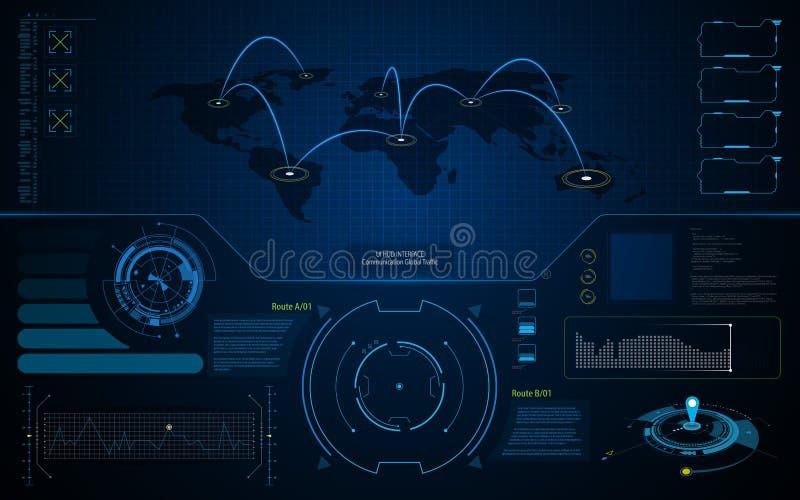 Fond abstrait de calibre de concept de technologie de télécommunication mondiale d'écran d'interface d'UI HUD illustration libre de droits