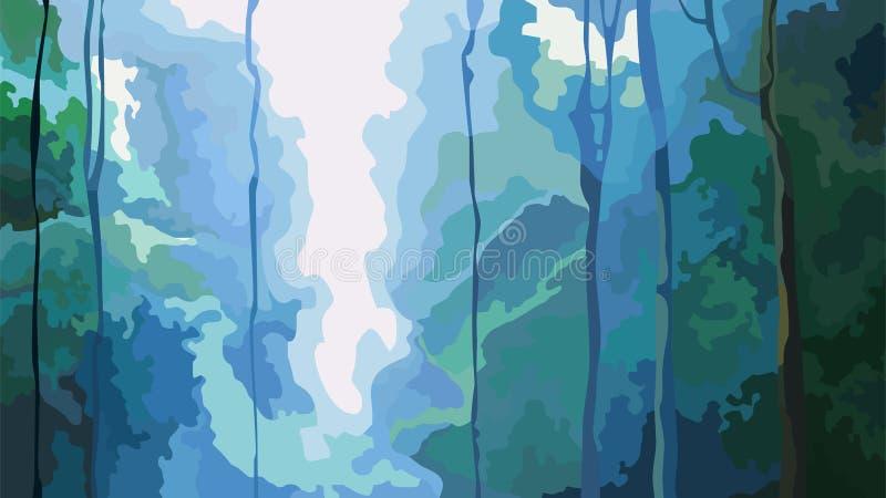 Fond abstrait de cascade de nature dans la forêt dense illustration de vecteur