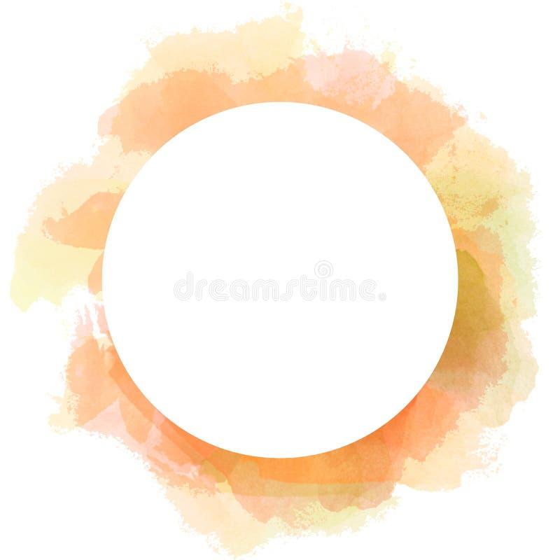 Fond abstrait de cercle d'aquarelle dans la couleur orange et rouge Illustration de course de brosse avec l'espace blanc de copie illustration stock