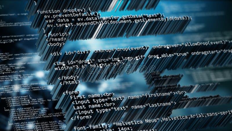 Fond abstrait de code avec des tons bleus de couleur illustration 3D illustration stock