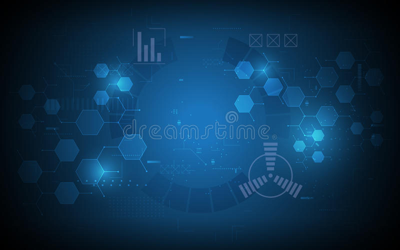 Fond abstrait de concept d'innovation d'ordinateur de technologie d'hexagone illustration de vecteur