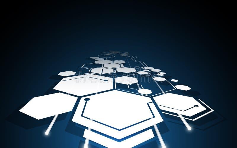 Fond abstrait de concept d'innovation de technologie de mouvement de modèle d'hexagone illustration libre de droits