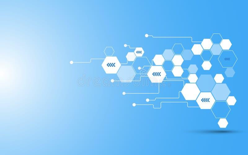 Fond abstrait de concept de télécommunication d'hexagone de vecteur illustration stock