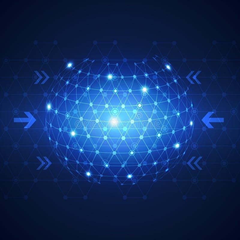 Fond abstrait de concept de technologie de réseau d'affaires globales illustration de vecteur
