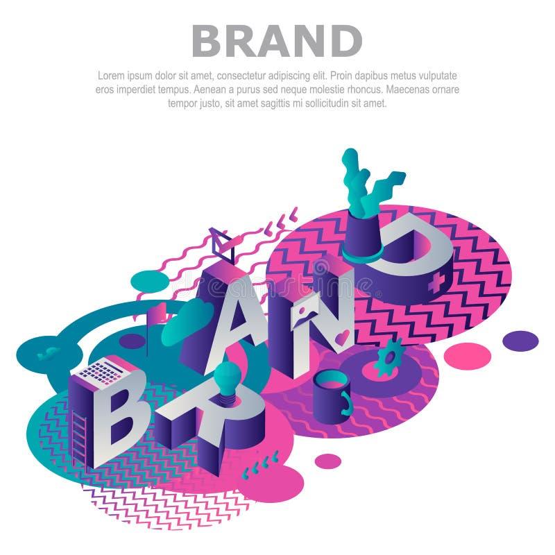 Fond abstrait de concept de marque, style isométrique illustration de vecteur