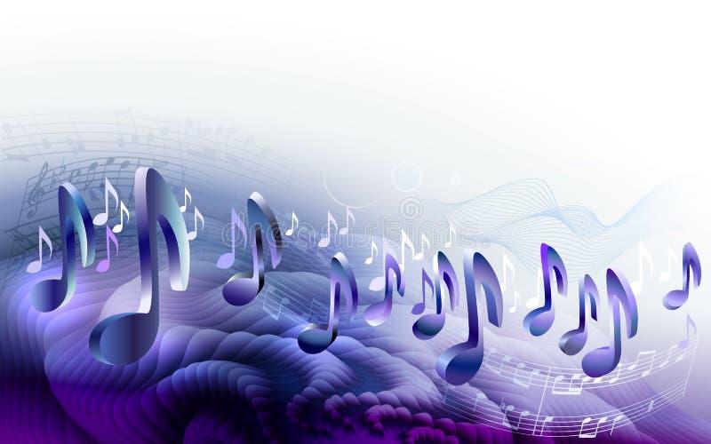 Fond abstrait de conception de musique de feuille avec les notes 3d musicales illustration de vecteur