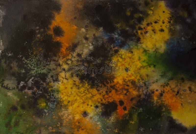 Fond abstrait de cosmos d'aquarelle, aucun grand coup d'étoiles images stock