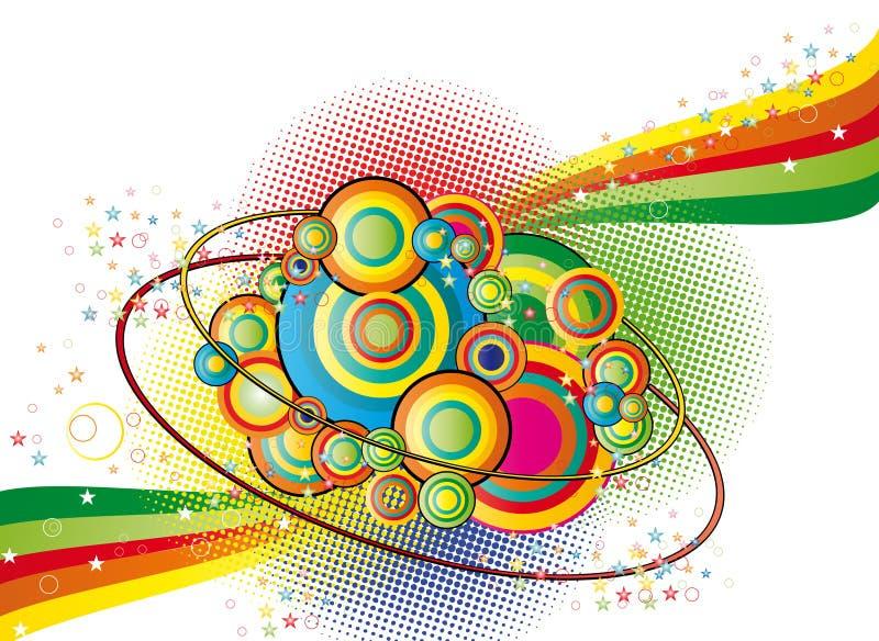 Fond abstrait de couleur avec des étoiles des cercles NAD illustration de vecteur