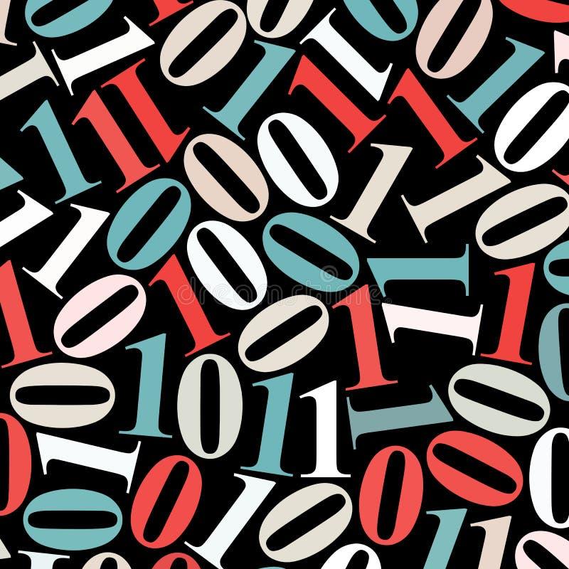 Fond abstrait de données : noir multicolore du ¾ n du code binaire Ð, aucun gradients, illustration de vecteur illustration de vecteur