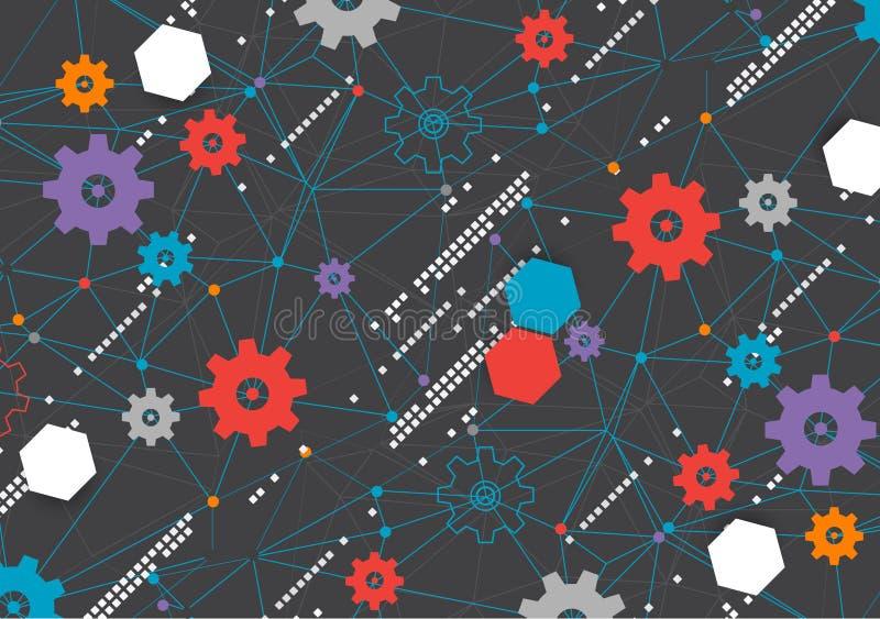 Fond abstrait de filet de technologie de roue dentée illustration libre de droits