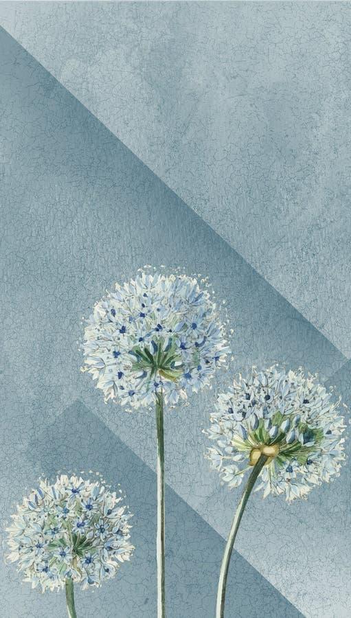 Fond abstrait de fleur, fond bleu de fleurs d'illustrateur illustration libre de droits