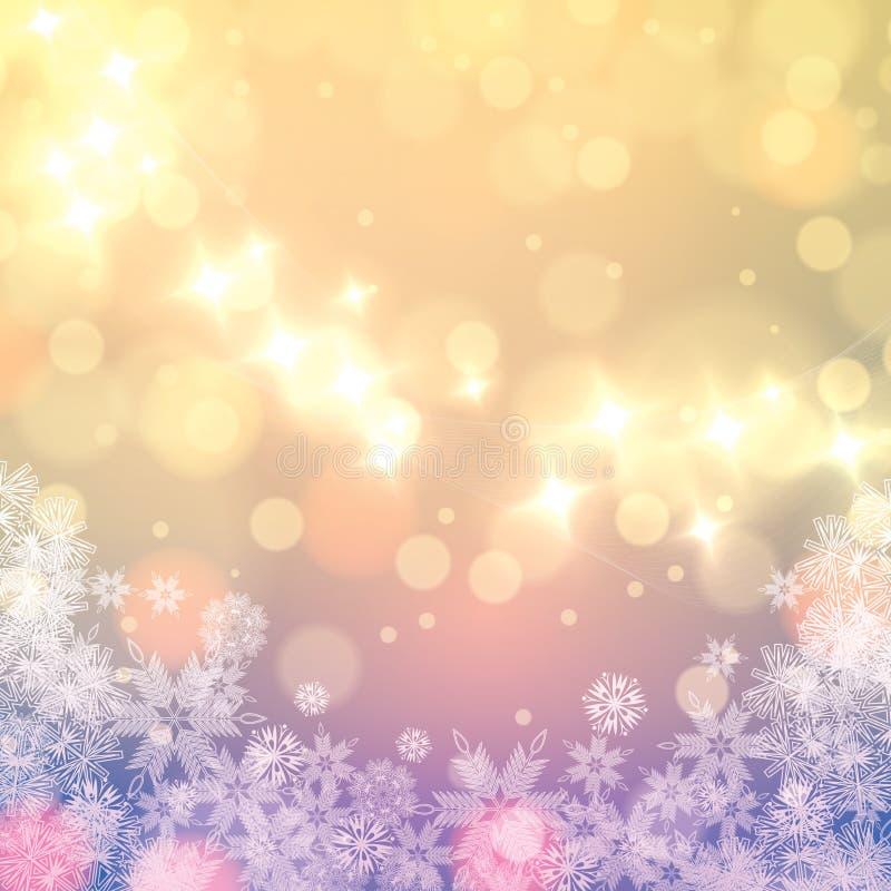 Fond abstrait de flocons de neige de couleurs claires d'hiver illustration stock
