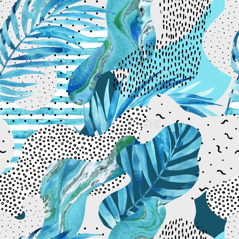 Fond abstrait de forme de courbe avec floral, griffonnage, éléments minimalistic illustration stock