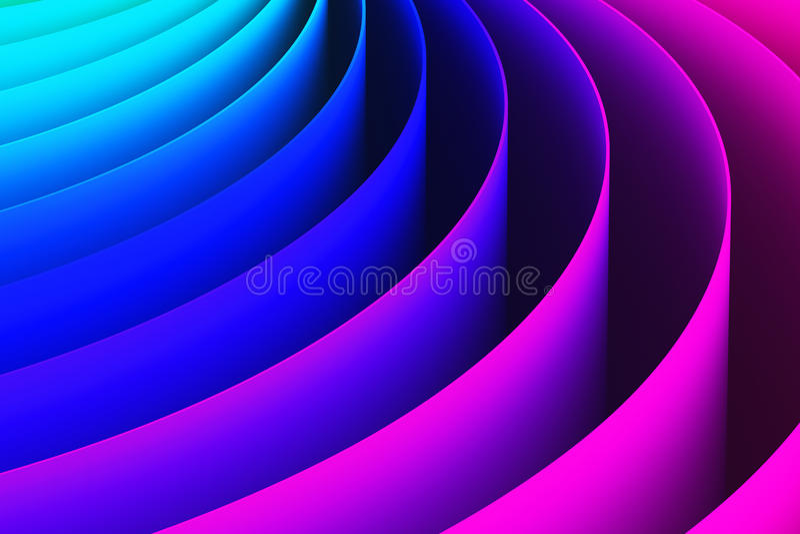 Fond abstrait de forme de courbe de la couleur 3D illustration stock