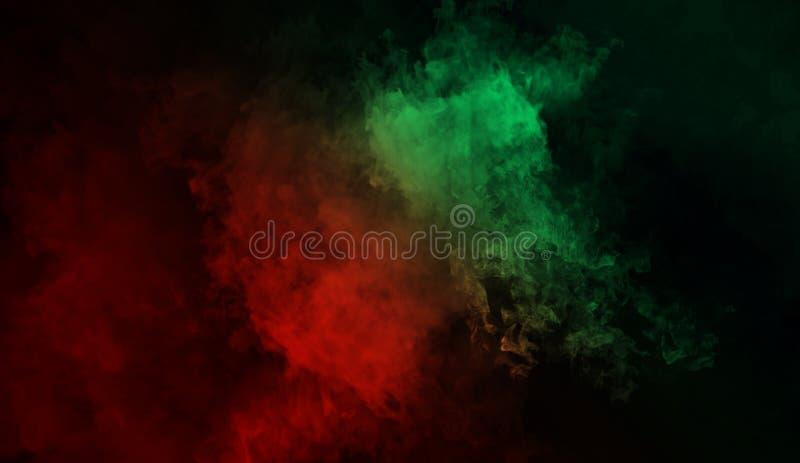 Fond abstrait de fumée de mystère Brouillard vert et rouge de recouvrements de texture photographie stock libre de droits
